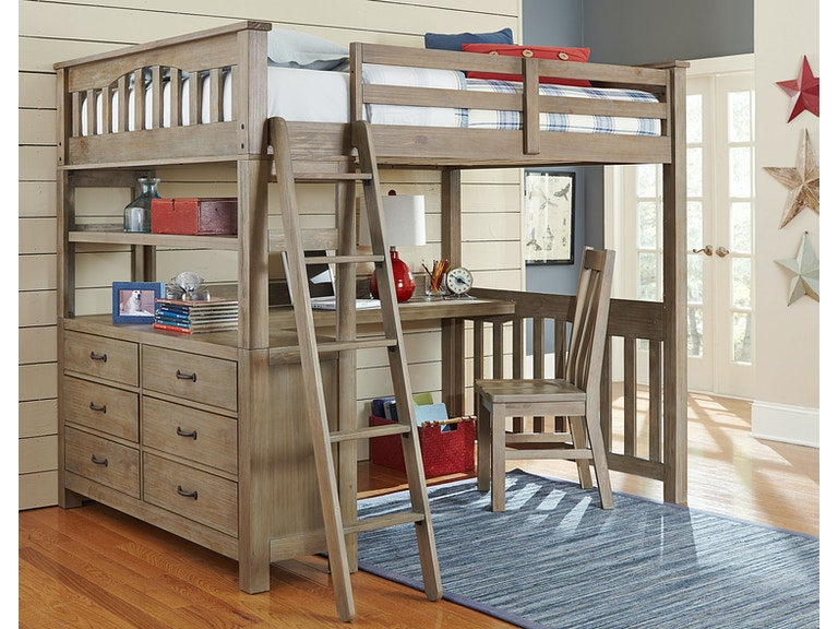 Hillsdale Kids and Teen Youth Highlands Full Loft Bed With Desk ...