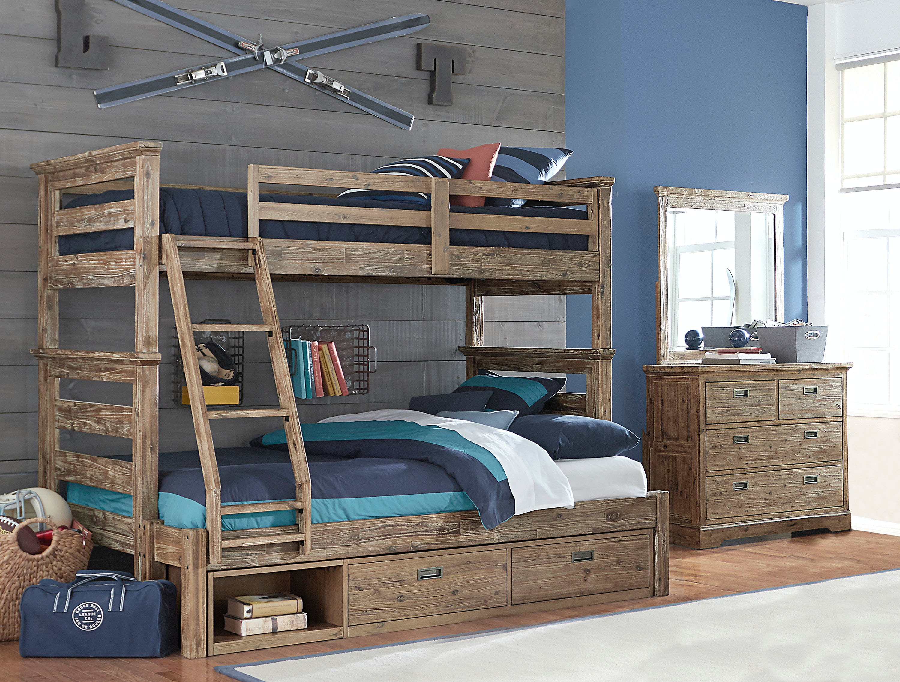 Hillsdale Kids And Teen Oxford Oliver Twin Over Full Bunk Bed With Storage  7104 011NBTFS
