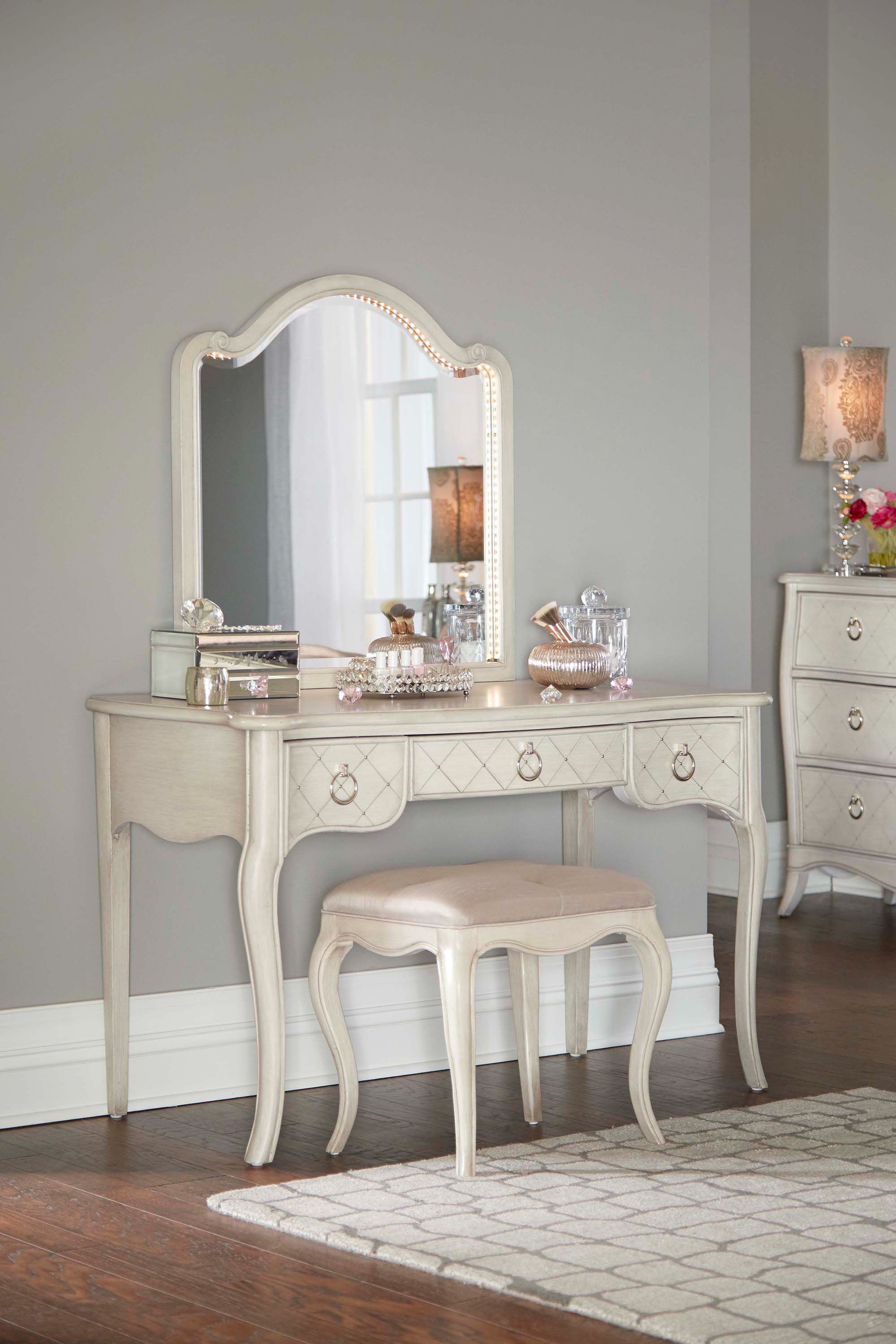 Hillsdale Kids And Teen Angela Desk With Arc Lighted Vanity Mirror  7107 778NDM