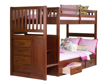 Merlot Twin - Twin Mission Staircase Bunk