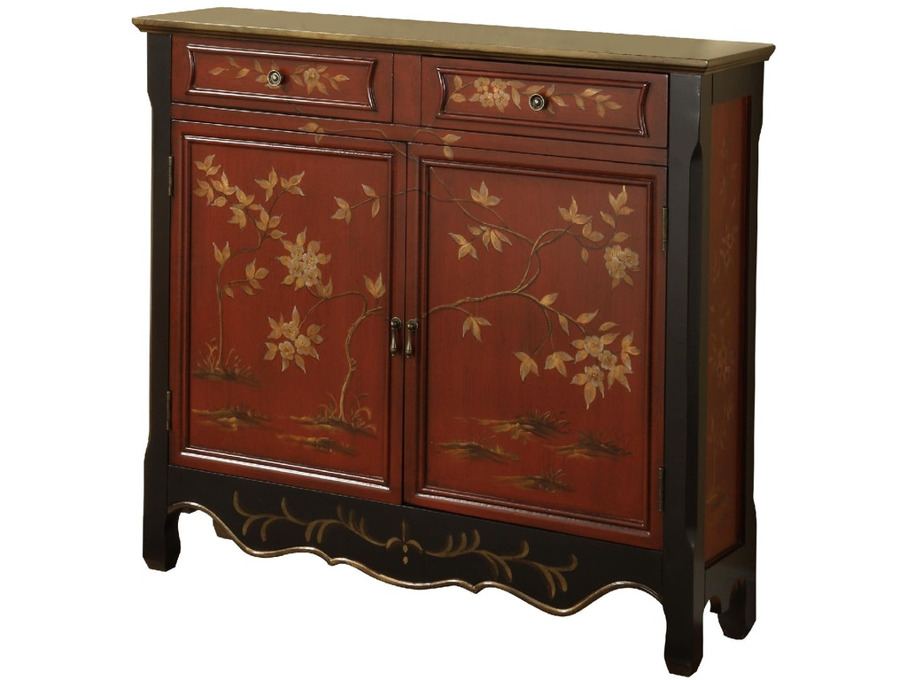 Powell Furniture Living Room Wd Red Oriental 2 Door Console 246 331b Custom Home Furniture