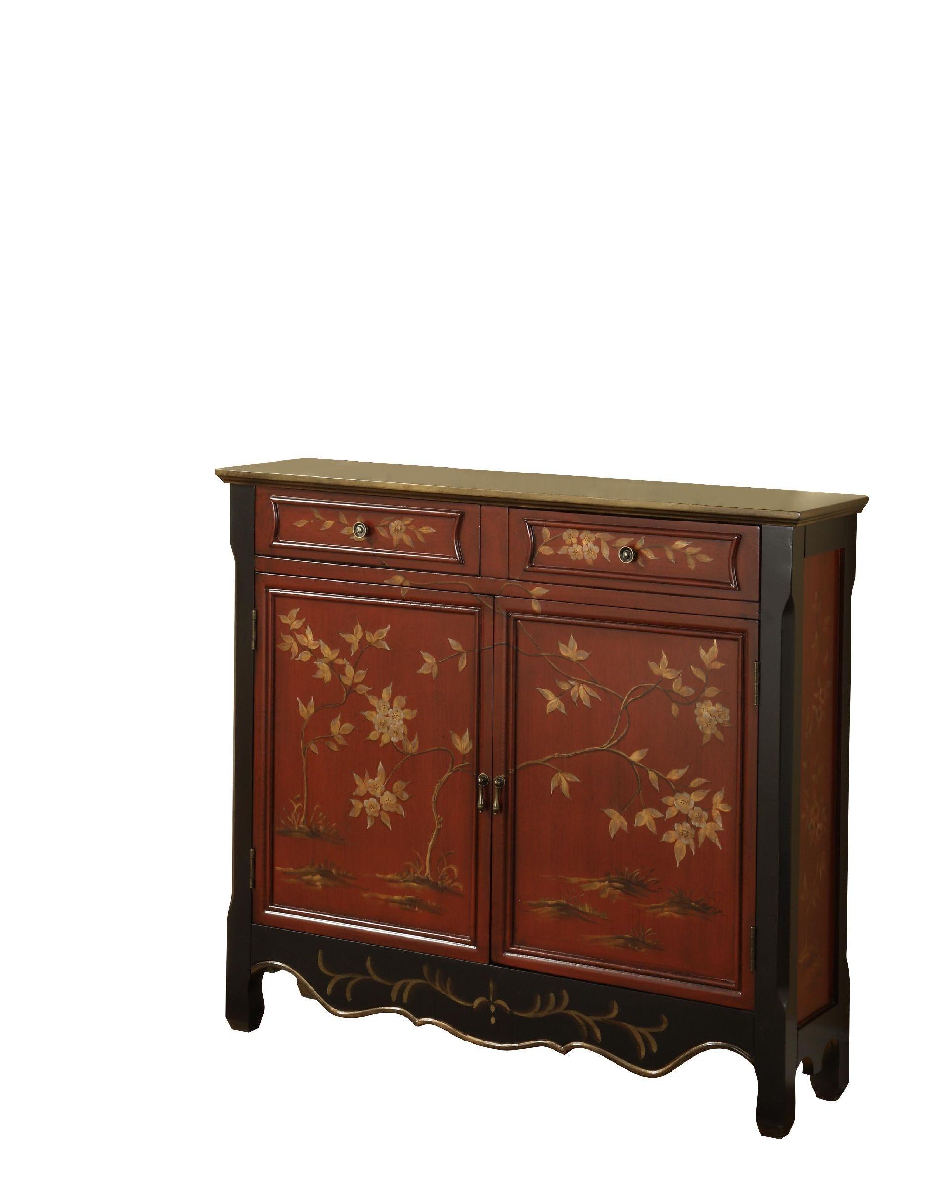 Powell Furniture Red Oriental 2 Door Console 246 331