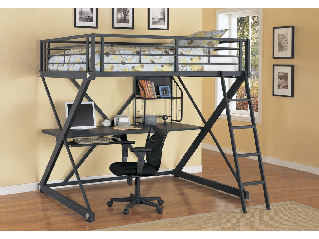Powell Furniture Youth ZBedroom Full Size Study Loft Bunk Bed - Ashley furniture pineville nc