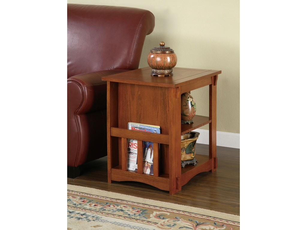 Powell Furniture Living Room Mission Oak Magazine Cabinet Table 356 Kemper Home Furnishings