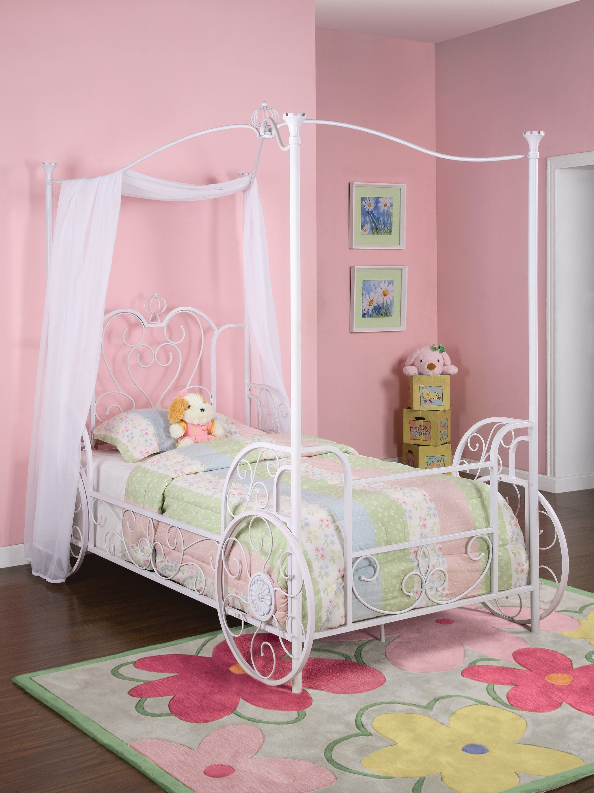Powell Furniture Princess Emily Carriage Canopy Twin Size Bed (Includes Bed  Frame) 374