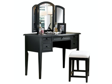 Powell Furniture Antique Black With Sand Through Terra Cotta Vanity, Mirror And Bench 502-290