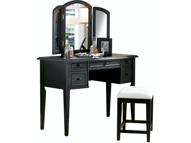 Powell Furniture Antique Black With Sand Through Terra Cotta Vanity, Mirror  And Bench 502- - Powell Furniture Bedroom Antique Black With Sand Through Terra Cotta