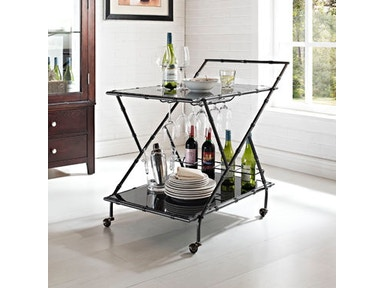 Powell Furniture Gunmetal Gray Serving Cart With Black Glass Shelves 532-415