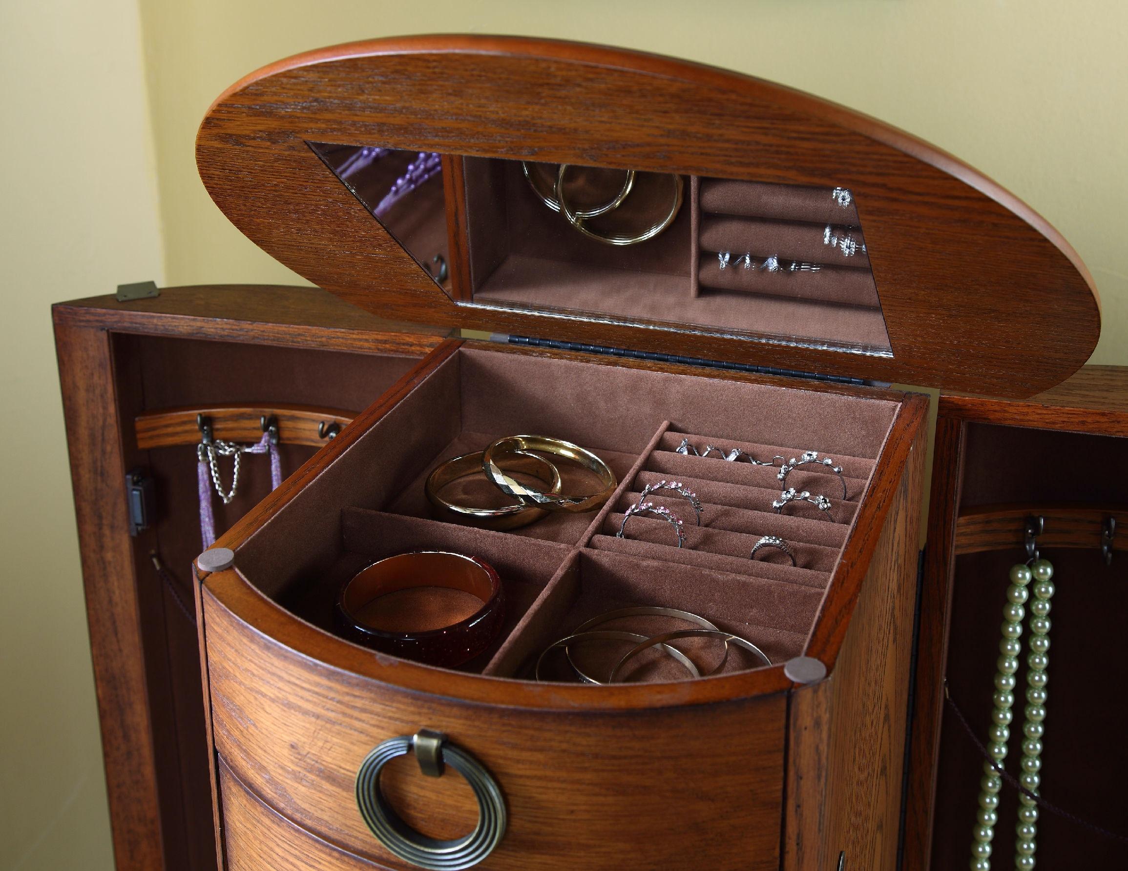 Powell Furniture Burnished Oak Jewelry Armoire 604 318