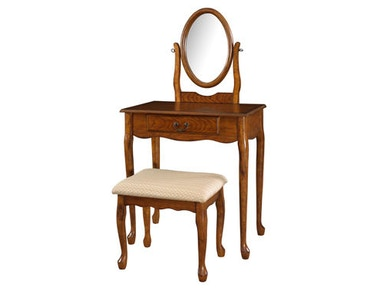 Powell Furniture Woodland Oak Vanity, Mirror And Bench 604-510