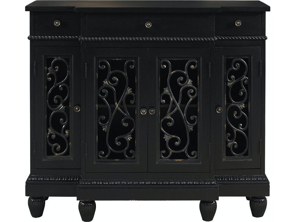 Powell furniture living room black rub through breakfront for Black front room furniture
