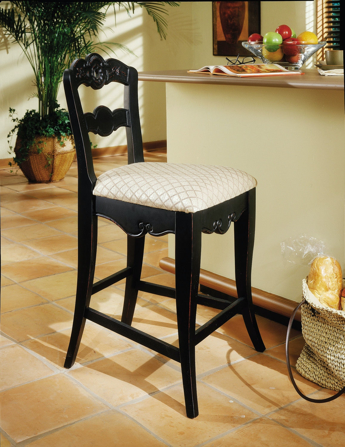 Powell Furniture Dining Room Hills Of Provence Inch Antique Black Over  Terra Cotta Inch Counter Stool, 24 Inch Seat Height 896 430   Turner  Furniture ...