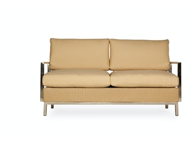 Lloyd Flanders Settee With Stainless Steel Arms
