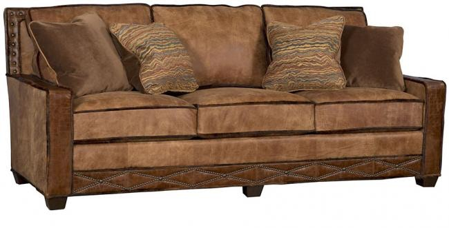 Awesome King Hickory Savannah Leather Fabric Sofa 1000 BWN LF