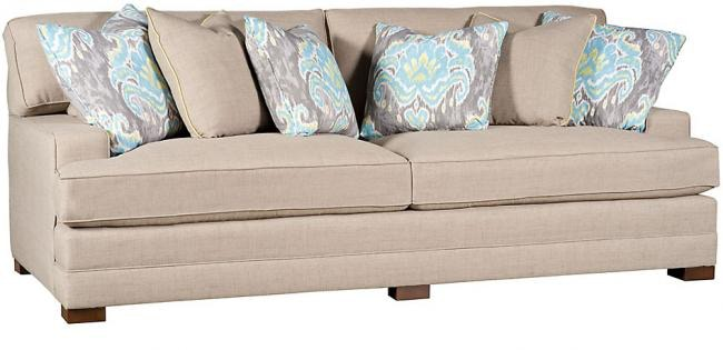 King Hickory Living Room Casbah Fabric Sofa With Track Arm, Loose Border  Back, Modern