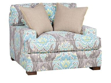 King Hickory Casbah Fabric Chair And Half With Track Arm, Loose Border Back, Modern Leg, And Fabric