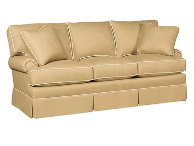 King Hickory Kelly Fabric Sofa With Panel Arm, Box Attached Back, Skirt, And Fabric