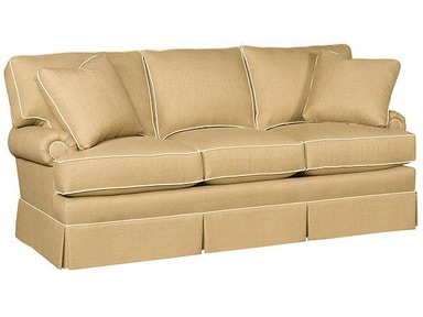Kelly Fabric Sofa With Panel Arm, Box Attached Back, Skirt, And Fabric