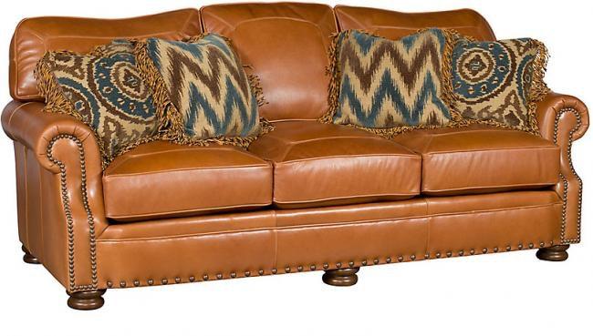 King Hickory Living Room Easton Leather Sofa 1600 L   Bartlett Home  Furnishings   Memphis, TN
