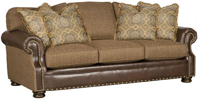 King Hickory Living Room Easton Leather/Fabric Sofa