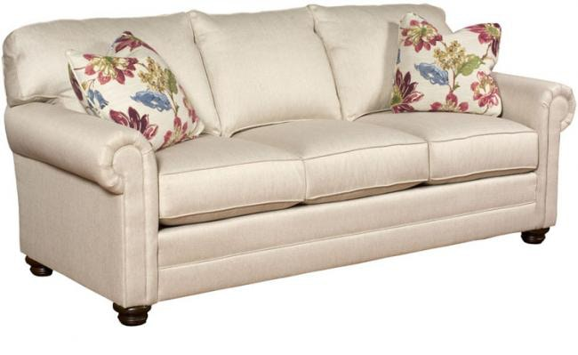 King Hickory Living Room Bentley Fabric Sofa With Panel Arm, Loose Back,  Bun Foot