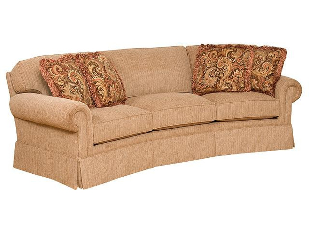 King Hickory Living Room Bentley Fabric Conversation Sofa With Panel Arm Attached Back Skirt