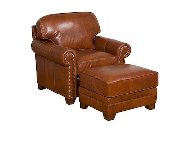 Bentley Chair With Panel Arm, Attached Back, Modern Leg, And Leather