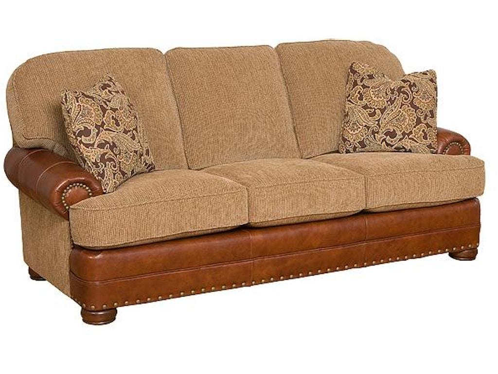 King Hickory Living Room Edward Leather Fabric Sofa 58150