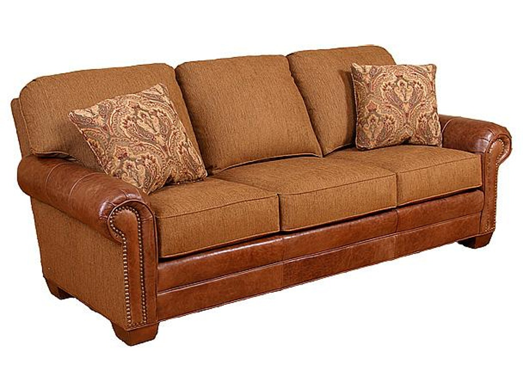 King Hickory Living Room Candice Leather/Fabric Sofa 58650 ...