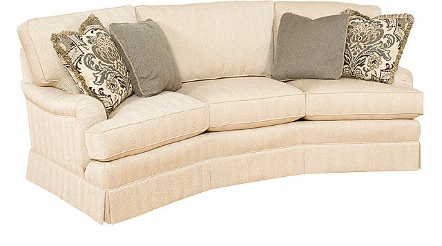 King Hickory Chatham Conversation Sofa With English Arm, Loose Back, Skirt,  And Fabric