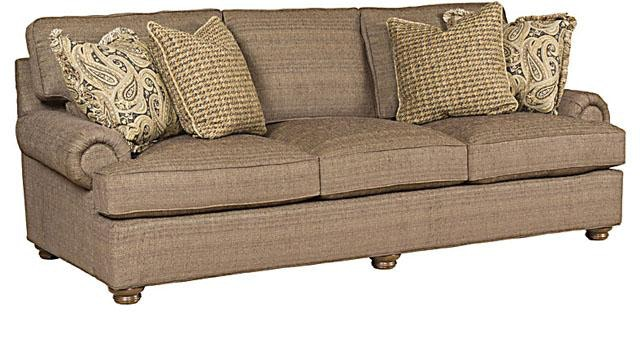King Hickory Henson Fabric Sofa With English Arm, Loose Back, Turned Leg,  And