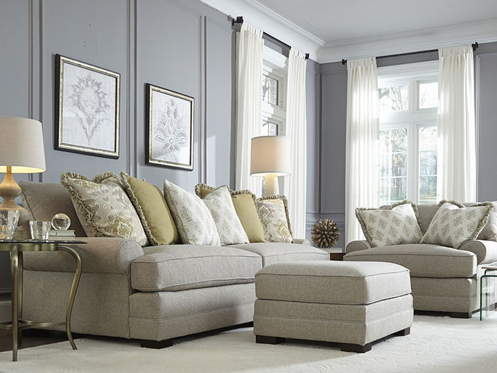 King Hickory Living Room Casbah Fabric Sofa With Track Arm, Loose ...