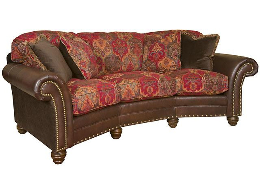 King hickory katherine leather fabric conversation sofa for Conversation sofa