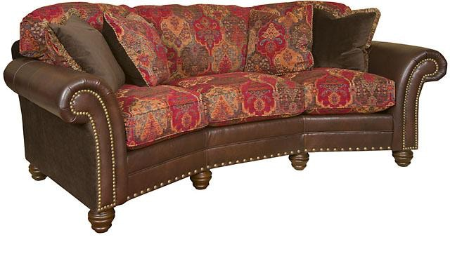 Charming King Hickory Katherine Leather/Fabric Conversation Sofa 9765 LF