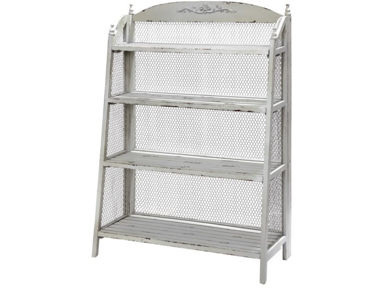 Crestview Home Office Lydia Pale Grey And Chicken Wire Bookshelf ...