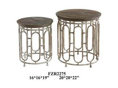 Crestview Living Room Allyson Textured Metal And Wood Set Of Tables