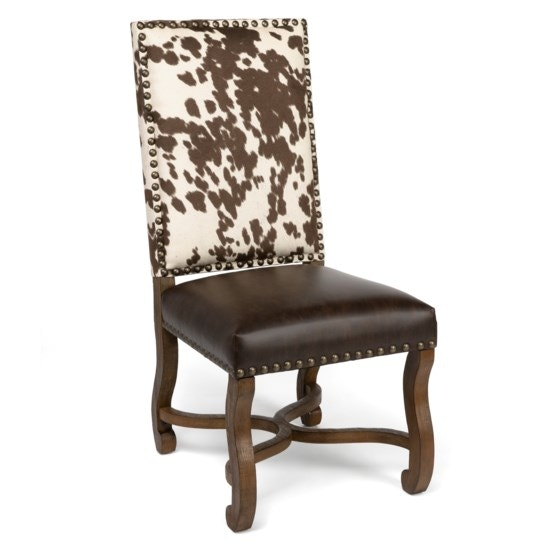 Attirant Crestview Dining Room Mesquite Ranch Leather And Faux Cowhide Side Chair