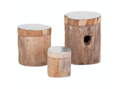 IMAX Corporation Abaco Teak and Aluminum Lidded Boxes - Set of 3 10228-3