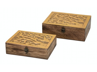 IMAX Corporation Concepts Eden Carved Wood Boxes - Set of 2 10552-2