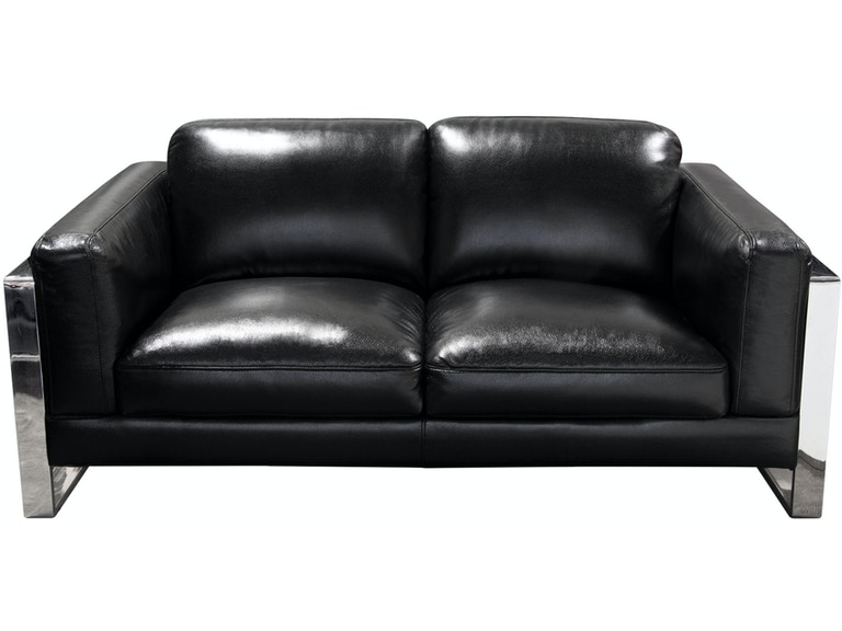 Diamond Sofa Annika Loveseat In Black Air Leather With Polished Stainless Steel Arm Annikalobl