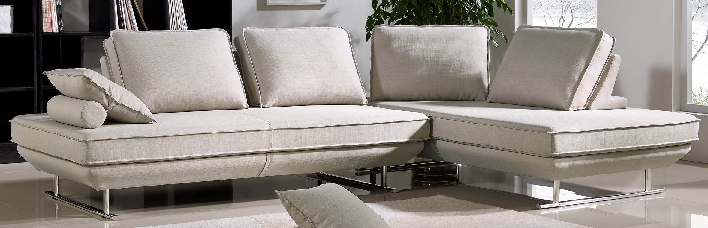 Diamond Sofa Dolce 2PC Lounge Seating Platforms With Moveable Backrest  Supports   Sand Fabric DOLCELG2PCSD2