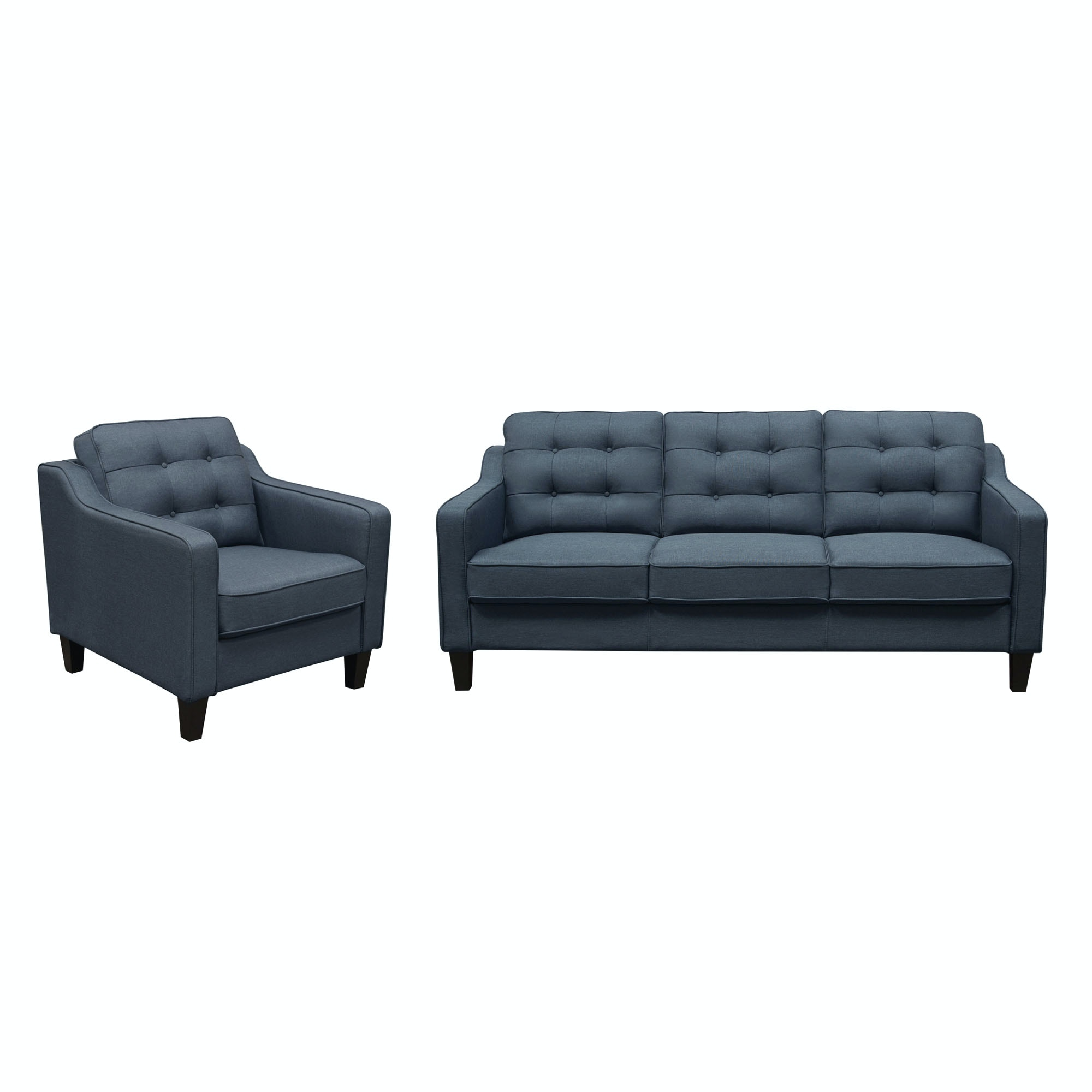 Delicieux Diamond Sofa Lucas Sofa Chair 2PC Set In Blue Fabric With Tufted Back And  Wood Leg