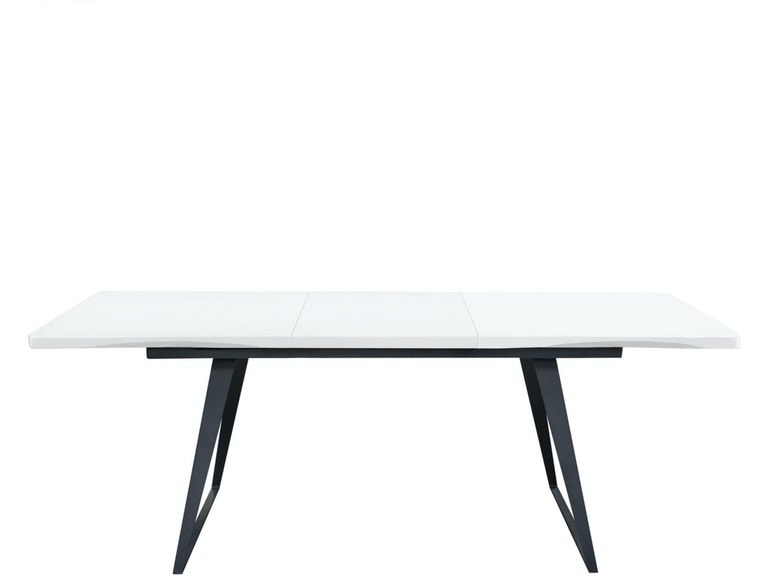 Diamond Sofa Tempo Extension Dining Table In White Lacquer Finish And Black Powder Coated Legs Tempodtwh