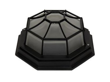 "23.23"" Frosted Glass Incandescent Exterior Flush Mount Oil Rubbed Bronze Finish."