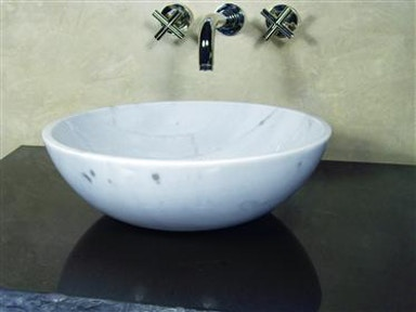 Polished White Marble Sink