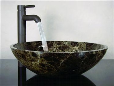 Polished Brown And Olive Marble Sink