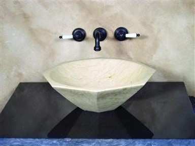 Octagon Vessel Sink Sand Stone Marble