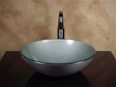 Silver Round Glass Basin