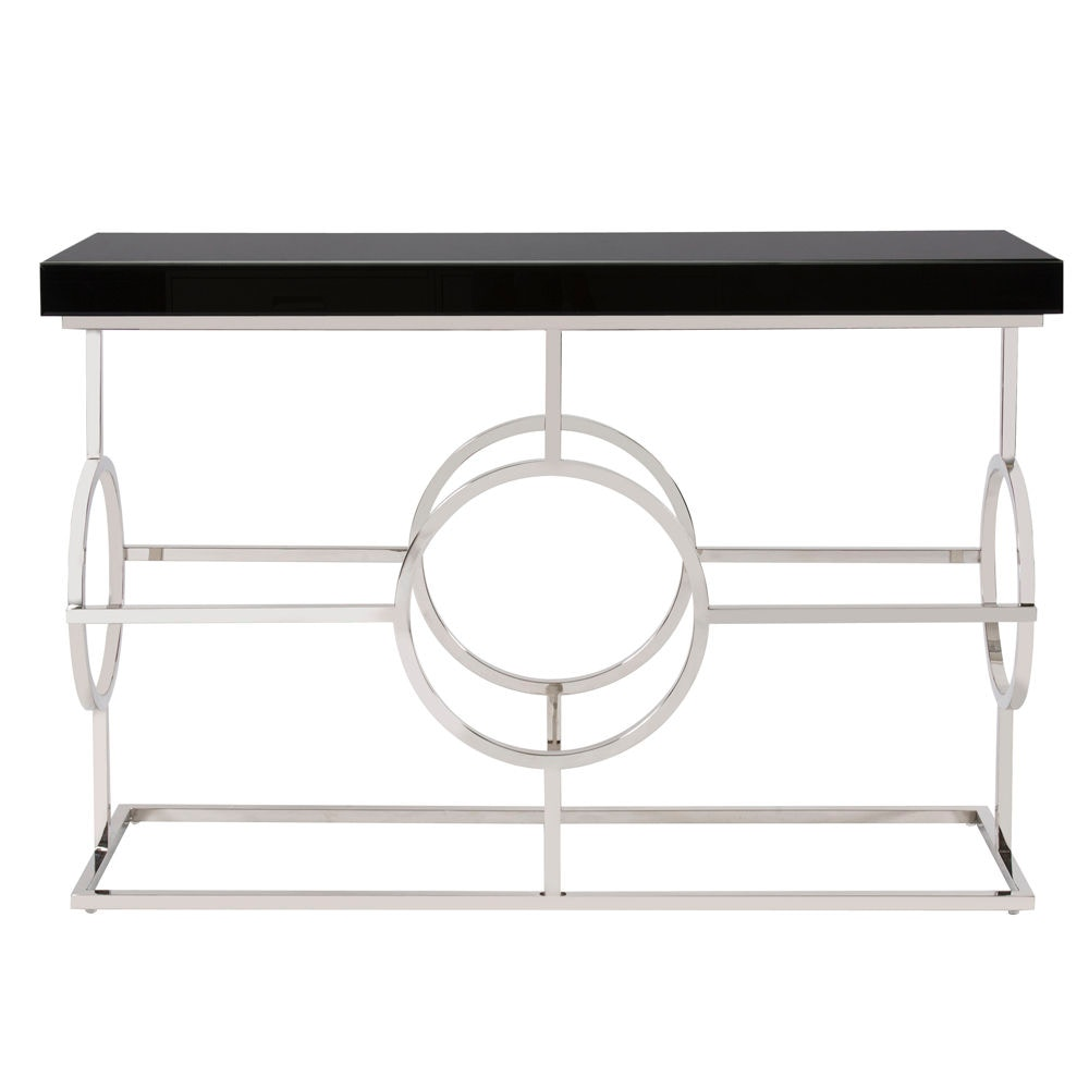 Howard Elliott Stainless Steel Console Table With Black Top 11182