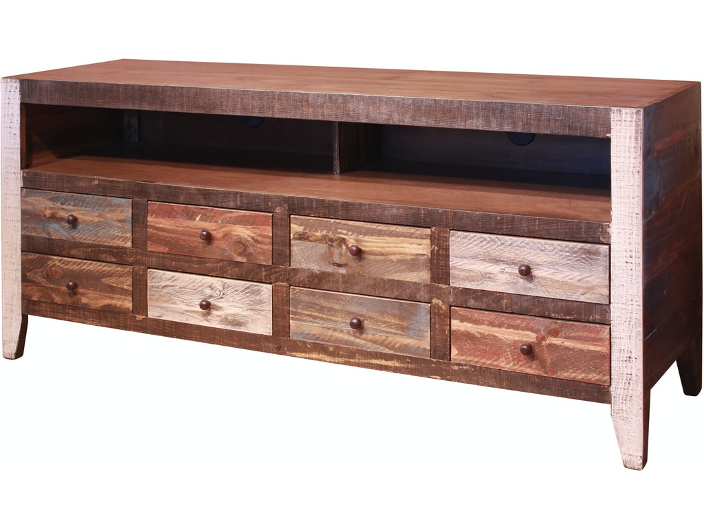 International Furniture Direct Home Entertainment Antique Multi Color 8 Drawer Tv Stand